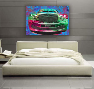 Bitcoin Bentley - Framed Canvas Painting Wall Art Office Decor, large modern pop artwork for home or office, Entrepreneur Inspirational and motivational Quotes on Canvas great for man cave or home. Perfect for Artwork Addicts. Made in USA, FREE Shipping.