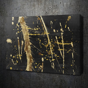 Black Gold Abstract I - Framed Canvas Painting Wall Art Office Decor, large modern pop artwork for home or office, Entrepreneur Inspirational and motivational Quotes on Canvas great for man cave or home. Perfect for Artwork Addicts. Made in USA, FREE Shipping.