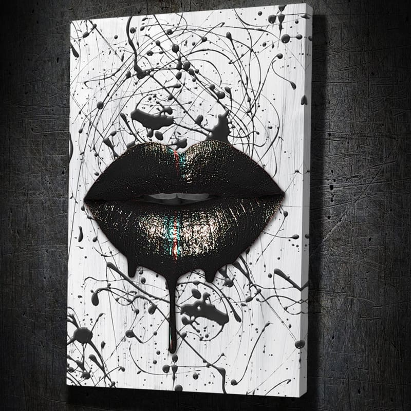 Black Lips Black Splatter - Framed Canvas Painting Wall Art Office Decor, large modern pop artwork for home or office, Entrepreneur Inspirational and motivational Quotes on Canvas great for man cave or home. Perfect for Artwork Addicts. Made in USA, FREE Shipping.