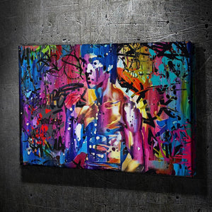 Bruce Lee Graffiti - Framed Canvas Painting Wall Art Office Decor, large modern pop artwork for home or office, Entrepreneur Inspirational and motivational Quotes on Canvas great for man cave or home. Perfect for Artwork Addicts. Made in USA, FREE Shipping.
