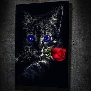 Dark Kitten Rose - Framed Canvas Painting Wall Art Office Decor, large modern pop artwork for home or office, Entrepreneur Inspirational and motivational Quotes on Canvas great for man cave or home. Perfect for Artwork Addicts. Made in USA, FREE Shipping.