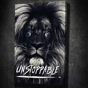 Dark Lion Blue Eyes Quote - Framed Canvas Painting Wall Art Office Decor, large modern pop artwork for home or office, Entrepreneur Inspirational and motivational Quotes on Canvas great for man cave or home. Perfect for Artwork Addicts. Made in USA, FREE Shipping.