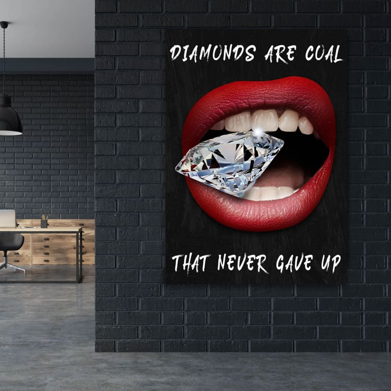 Diamond Lips Coal - Framed Canvas Painting Wall Art Office Decor, large modern pop artwork for home or office, Entrepreneur Inspirational and motivational Quotes on Canvas great for man cave or home. Perfect for Artwork Addicts. Made in USA, FREE Shipping.