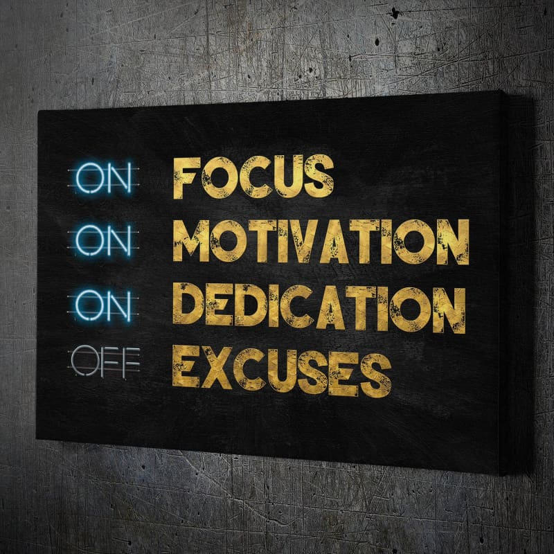 Focus Motivation - Framed Canvas Painting Wall Art Office Decor, large modern pop artwork for home or office, Entrepreneur Inspirational and motivational Quotes on Canvas great for man cave or home. Perfect for Artwork Addicts. Made in USA, FREE Shipping.