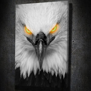 Glowing Eagle Eyes - Framed Canvas Painting Wall Art Office Decor, large modern pop artwork for home or office, Entrepreneur Inspirational and motivational Quotes on Canvas great for man cave or home. Perfect for Artwork Addicts. Made in USA, FREE Shipping.