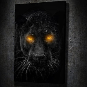 Glowing Panther Eyes - Framed Canvas Painting Wall Art Office Decor, large modern pop artwork for home or office, Entrepreneur Inspirational and motivational Quotes on Canvas great for man cave or home. Perfect for Artwork Addicts. Made in USA, FREE Shipping.