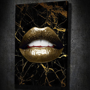 Gold Lips on Gold Marble - Artwork Addict
