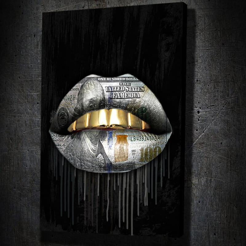 Gold Money Drip Lips - Framed Canvas Painting Wall Art Office Decor, large modern pop artwork for home or office, Entrepreneur Inspirational and motivational Quotes on Canvas great for man cave or home. Perfect for Artwork Addicts. Made in USA, FREE Shipping.