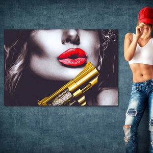 Golden Gun Beauty - Framed Canvas Painting Wall Art Office Decor, large modern pop artwork for home or office, Entrepreneur Inspirational and motivational Quotes on Canvas great for man cave or home. Perfect for Artwork Addicts. Made in USA, FREE Shipping.