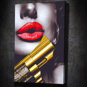 Golden Gun Lips - Framed Canvas Painting Wall Art Office Decor, large modern pop artwork for home or office, Entrepreneur Inspirational and motivational Quotes on Canvas great for man cave or home. Perfect for Artwork Addicts. Made in USA, FREE Shipping.