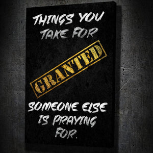 Granted - Framed Canvas Painting Wall Art Office Decor, large modern pop artwork for home or office, Entrepreneur Inspirational and motivational Quotes on Canvas great for man cave or home. Perfect for Artwork Addicts. Made in USA, FREE Shipping.