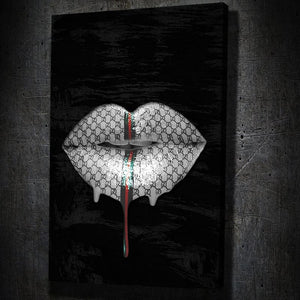 Gucci Lips Drip Portrait - Framed Canvas Painting Wall Art Office Decor, large modern pop artwork for home or office, Entrepreneur Inspirational and motivational Quotes on Canvas great for man cave or home. Perfect for Artwork Addicts. Made in USA, FREE Shipping.