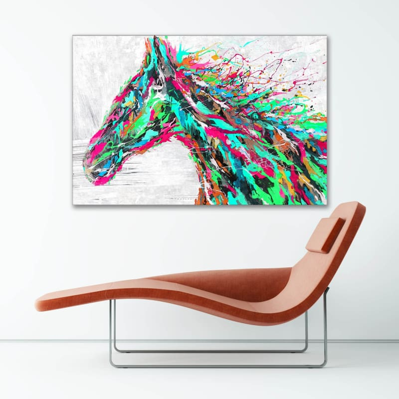 Horse Splatter Paint - Framed Canvas Painting Wall Art Office Decor, large modern pop artwork for home or office, Entrepreneur Inspirational and motivational Quotes on Canvas great for man cave or home. Perfect for Artwork Addicts. Made in USA, FREE Shipping.