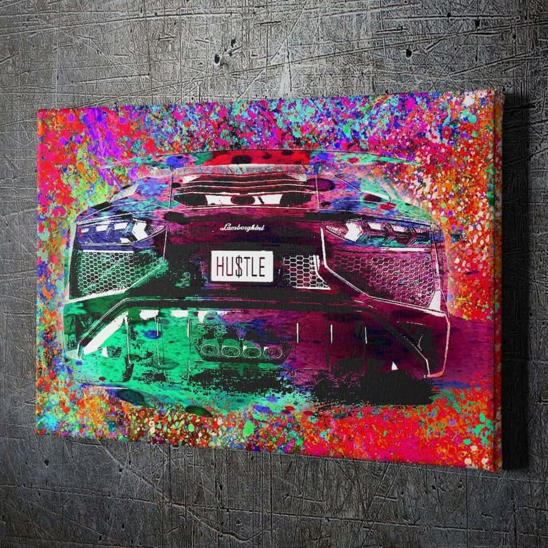 Hustle Lambo - Framed Canvas Painting Wall Art Office Decor, large modern pop artwork for home or office, Entrepreneur Inspirational and motivational Quotes on Canvas great for man cave or home. Perfect for Artwork Addicts. Made in USA, FREE Shipping.