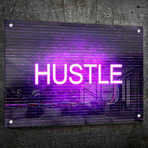 Hustle Neon Wall Art - Framed Canvas Painting Wall Art Office Decor, large modern pop artwork for home or office, Entrepreneur Inspirational and motivational Quotes on Canvas great for man cave or home. Perfect for Artwork Addicts. Made in USA, FREE Shipping.