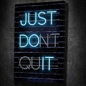 Just Don't Quit - Framed Canvas Painting Wall Art Office Decor, large modern pop artwork for home or office, Entrepreneur Inspirational and motivational Quotes on Canvas great for man cave or home. Perfect for Artwork Addicts. Made in USA, FREE Shipping.