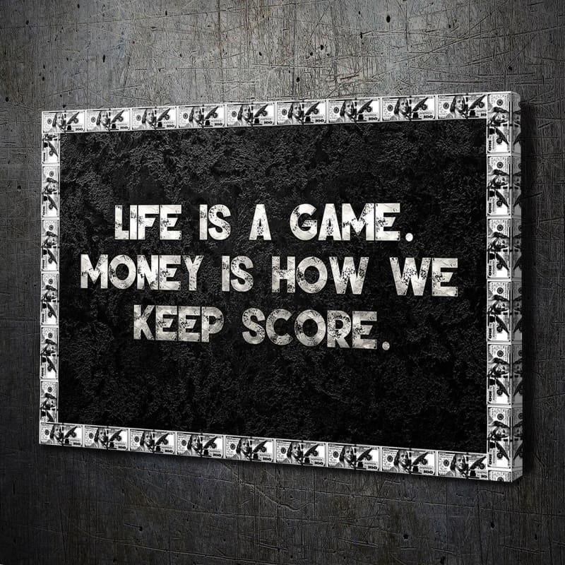 Life is a Game - Framed Canvas Painting Wall Art Office Decor, large modern pop artwork for home or office, Entrepreneur Inspirational and motivational Quotes on Canvas great for man cave or home. Perfect for Artwork Addicts. Made in USA, FREE Shipping.