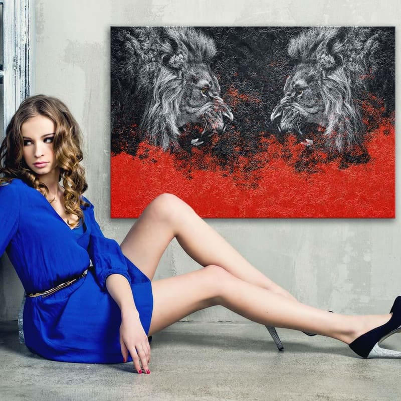 Lion Face-Off Fire - Framed Canvas Painting Wall Art Office Decor, large modern pop artwork for home or office, Entrepreneur Inspirational and motivational Quotes on Canvas great for man cave or home. Perfect for Artwork Addicts. Made in USA, FREE Shipping.