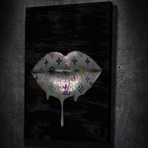 Louis Vuitton Lips Drip Portrait - Framed Canvas Painting Wall Art Office Decor, large modern pop artwork for home or office, Entrepreneur Inspirational and motivational Quotes on Canvas great for man cave or home. Perfect for Artwork Addicts. Made in USA, FREE Shipping.