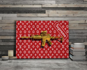 LV Supreme Gold Gun - Framed Canvas Painting Wall Art Office Decor, large modern pop artwork for home or office, Entrepreneur Inspirational and motivational Quotes on Canvas great for man cave or home. Perfect for Artwork Addicts. Made in USA, FREE Shipping.