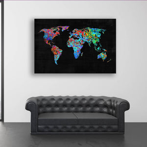 Map Paint Splatter - Framed Canvas Painting Wall Art Office Decor, large modern pop artwork for home or office, Entrepreneur Inspirational and motivational Quotes on Canvas great for man cave or home. Perfect for Artwork Addicts. Made in USA, FREE Shipping.