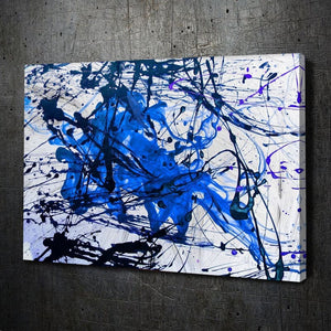 Modern Abstract Painting - Light Blue & Dark Blue Ink on White Texture - Artwork Addict