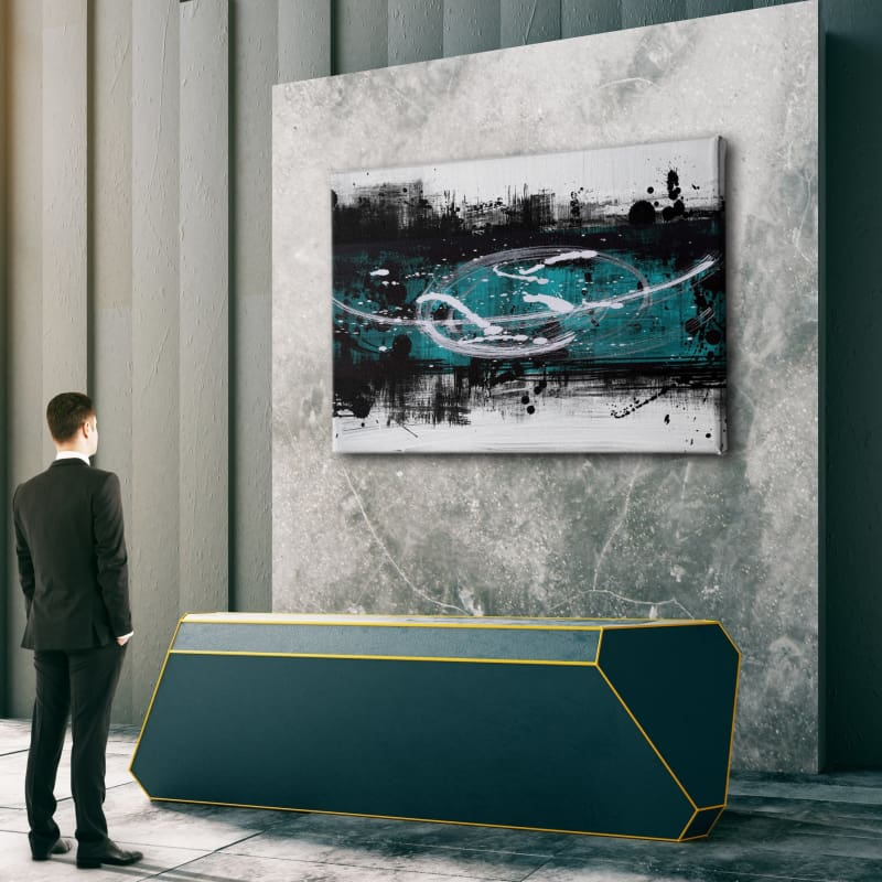 Modern Abstract Painting - Teal, Black & White Drips - Artwork Addict