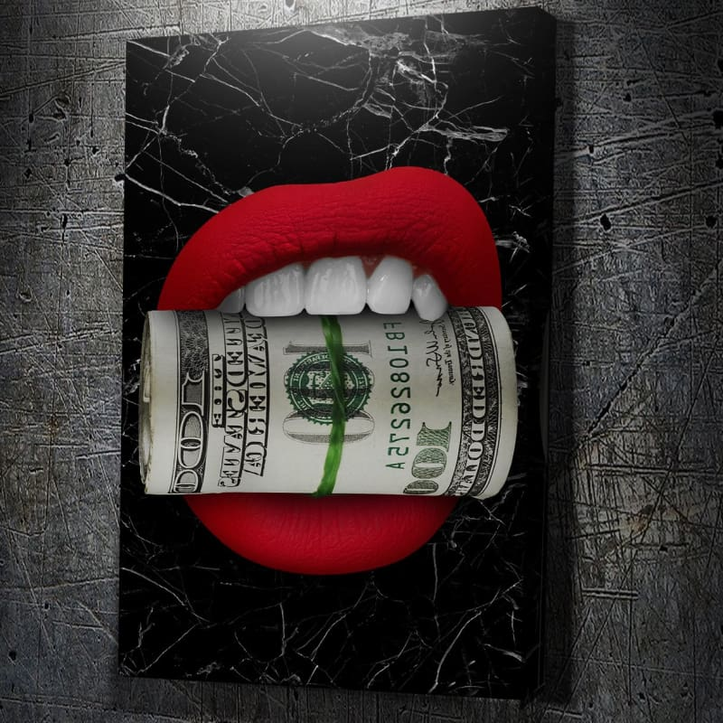Money Hungry Black Marble - Framed Canvas Painting Wall Art Office Decor, large modern pop artwork for home or office, Entrepreneur Inspirational and motivational Quotes on Canvas great for man cave or home. Perfect for Artwork Addicts. Made in USA, FREE Shipping.