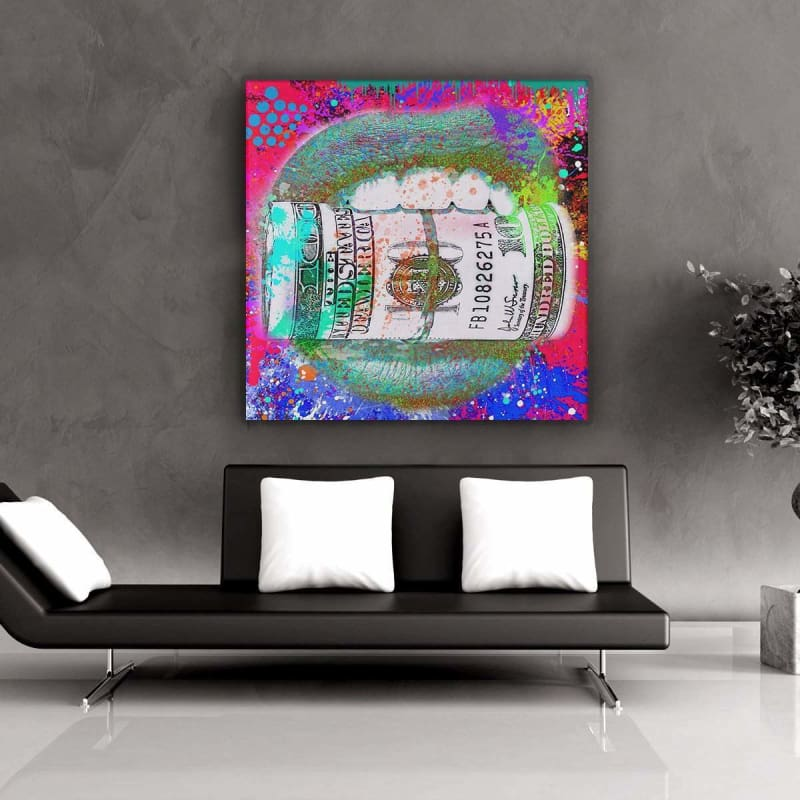 Money Hungry - Framed Canvas Painting Wall Art Office Decor, large modern pop artwork for home or office, Entrepreneur Inspirational and motivational Quotes on Canvas great for man cave or home. Perfect for Artwork Addicts. Made in USA, FREE Shipping.
