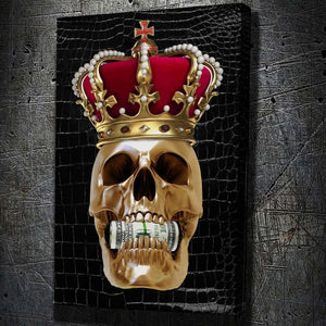 Money Hungry King - Framed Canvas Painting Wall Art Office Decor, large modern pop artwork for home or office, Entrepreneur Inspirational and motivational Quotes on Canvas great for man cave or home. Perfect for Artwork Addicts. Made in USA, FREE Shipping.