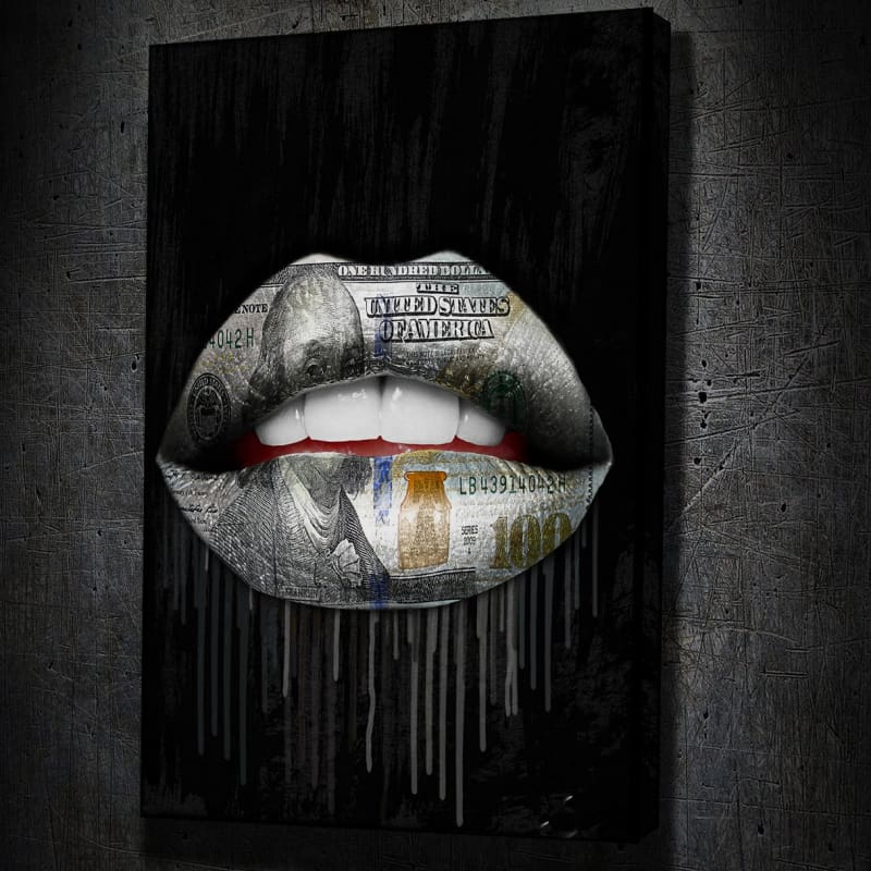 Money Lips Drip - Framed Canvas Painting Wall Art Office Decor, large modern pop artwork for home or office, Entrepreneur Inspirational and motivational Quotes on Canvas great for man cave or home. Perfect for Artwork Addicts. Made in USA, FREE Shipping.