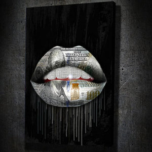 Money Lips Drip Diamond Teeth - Framed Canvas Painting Wall Art Office Decor, large modern pop artwork for home or office, Entrepreneur Inspirational and motivational Quotes on Canvas great for man cave or home. Perfect for Artwork Addicts. Made in USA, FREE Shipping.
