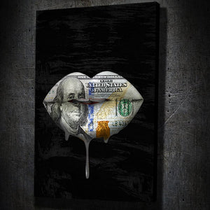 Money Lips Drip Portrait - Framed Canvas Painting Wall Art Office Decor, large modern pop artwork for home or office, Entrepreneur Inspirational and motivational Quotes on Canvas great for man cave or home. Perfect for Artwork Addicts. Made in USA, FREE Shipping.