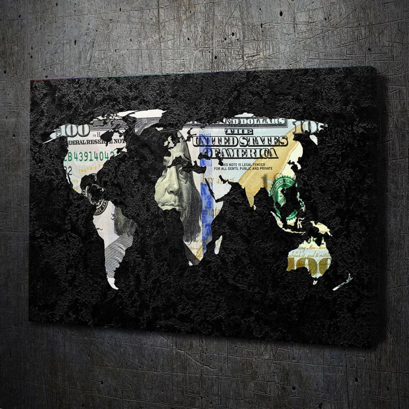 Money Map - Framed Canvas Painting Wall Art Office Decor, large modern pop artwork for home or office, Entrepreneur Inspirational and motivational Quotes on Canvas great for man cave or home. Perfect for Artwork Addicts. Made in USA, FREE Shipping.