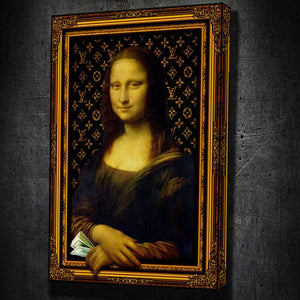Money Mona Lisa 3D Wall Art - Framed Canvas Painting Wall Art Office Decor, large modern pop artwork for home or office, Entrepreneur Inspirational and motivational Quotes on Canvas great for man cave or home. Perfect for Artwork Addicts. Made in USA, FREE Shipping.