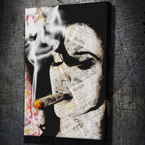 Money Smoke - Framed Canvas Painting Wall Art Office Decor, large modern pop artwork for home or office, Entrepreneur Inspirational and motivational Quotes on Canvas great for man cave or home. Perfect for Artwork Addicts. Made in USA, FREE Shipping.