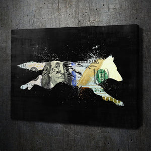 Money Wolf - Framed Canvas Painting Wall Art Office Decor, large modern pop artwork for home or office, Entrepreneur Inspirational and motivational Quotes on Canvas great for man cave or home. Perfect for Artwork Addicts. Made in USA, FREE Shipping.