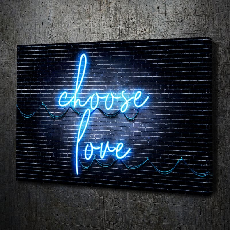 Neon Choose Love Blue Canvas Art Landscape
