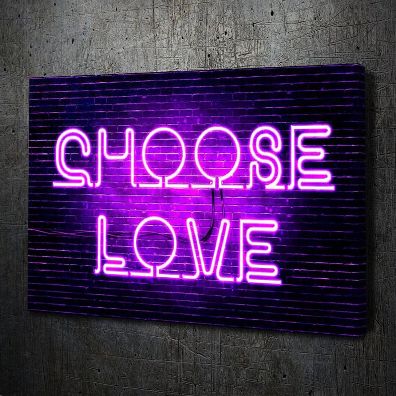 Neon Choose Love Canvas Art Landscape