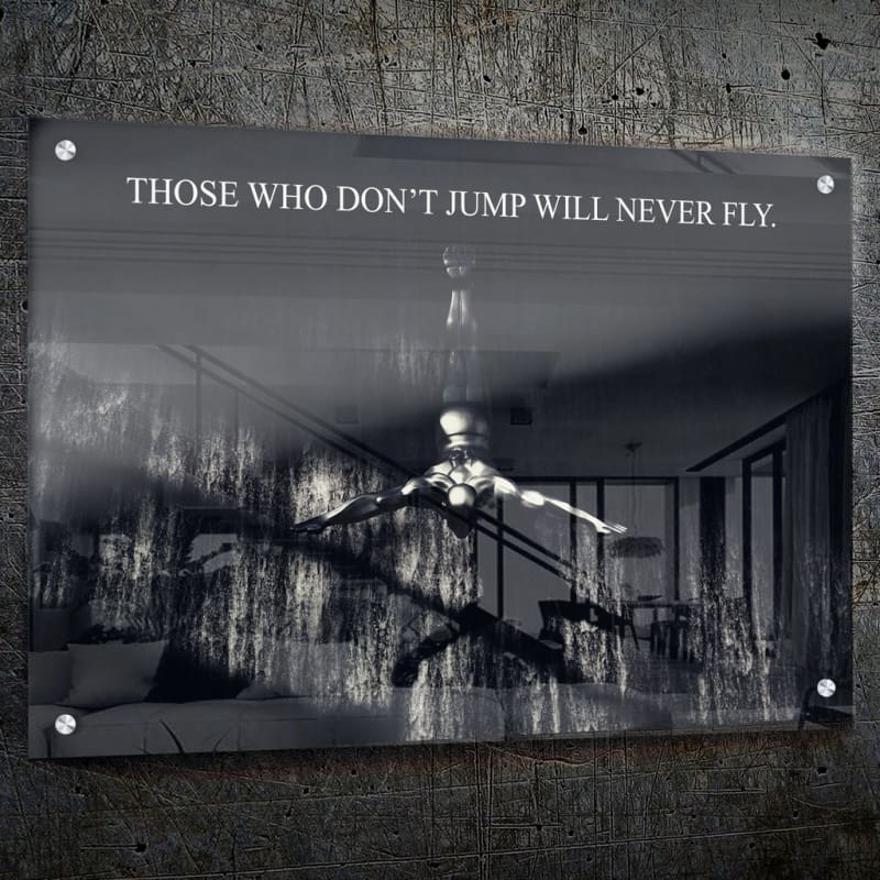 Never Fly - Framed Canvas Painting Wall Art Office Decor, large modern pop artwork for home or office, Entrepreneur Inspirational and motivational Quotes on Canvas great for man cave or home. Perfect for Artwork Addicts. Made in USA, FREE Shipping.