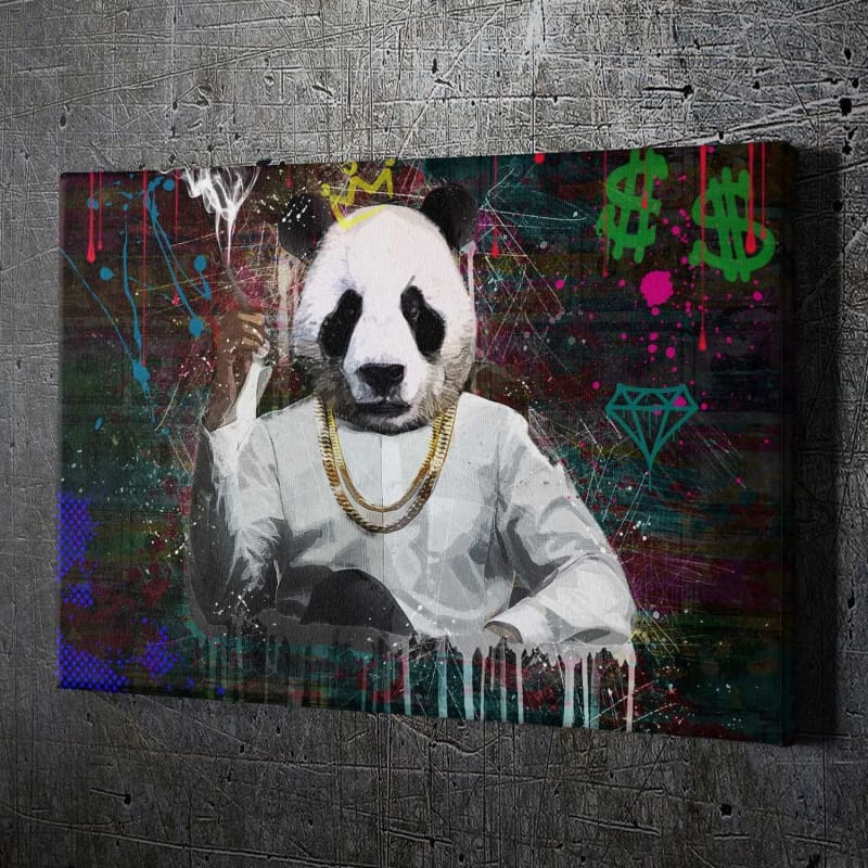 Panda Boss - Framed Canvas Painting Wall Art Office Decor, large modern pop artwork for home or office, Entrepreneur Inspirational and motivational Quotes on Canvas great for man cave or home. Perfect for Artwork Addicts. Made in USA, FREE Shipping.