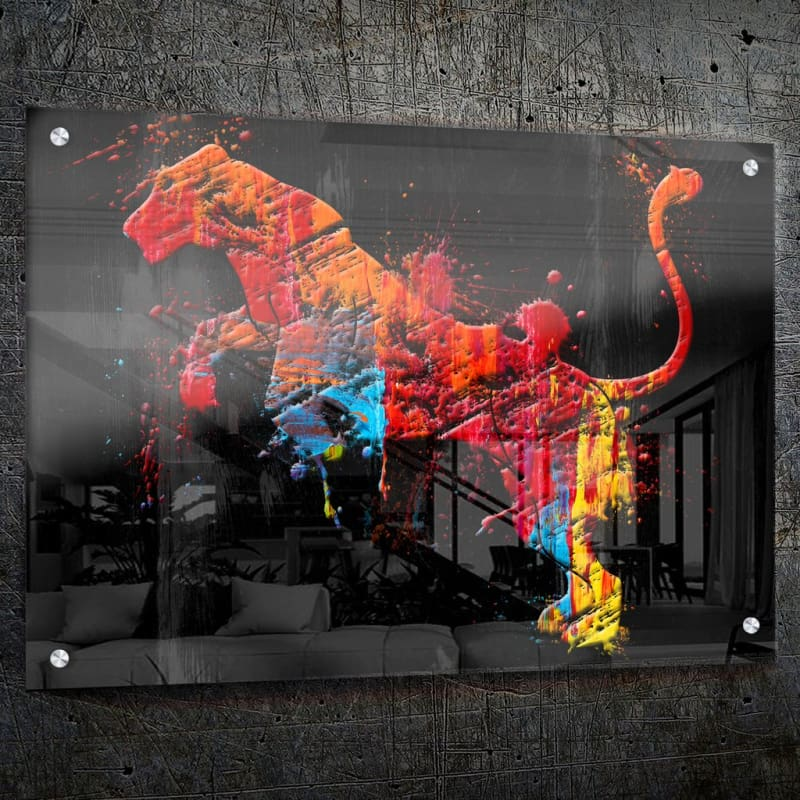 Panther Paint Splatter - Framed Canvas Painting Wall Art Office Decor, large modern pop artwork for home or office, Entrepreneur Inspirational and motivational Quotes on Canvas great for man cave or home. Perfect for Artwork Addicts. Made in USA, FREE Shipping.