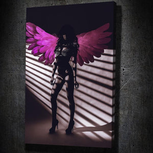 Pink Angel Wings II - Framed Canvas Painting Wall Art Office Decor, large modern pop artwork for home or office, Entrepreneur Inspirational and motivational Quotes on Canvas great for man cave or home. Perfect for Artwork Addicts. Made in USA, FREE Shipping.