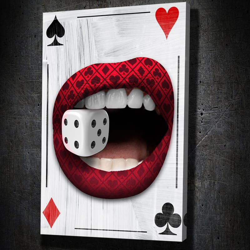 Poker Lips Canvas Art Portrait