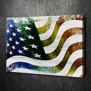Rainbow Flag Grunge Paint Canvas Art Landscape
