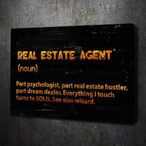 Real Estate Agent - Framed Canvas Painting Wall Art Office Decor, large modern pop artwork for home or office, Entrepreneur Inspirational and motivational Quotes on Canvas great for man cave or home. Perfect for Artwork Addicts. Made in USA, FREE Shipping.