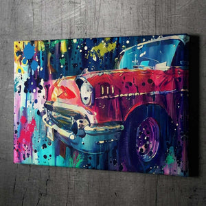 Red Classic Car - Framed Canvas Painting Wall Art Office Decor, large modern pop artwork for home or office, Entrepreneur Inspirational and motivational Quotes on Canvas great for man cave or home. Perfect for Artwork Addicts. Made in USA, FREE Shipping.