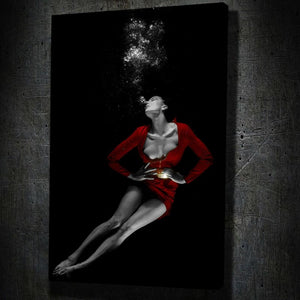 Red Dress Underwater Fine Art I - Framed Canvas Painting Wall Art Office Decor, large modern pop artwork for home or office, Entrepreneur Inspirational and motivational Quotes on Canvas great for man cave or home. Perfect for Artwork Addicts. Made in USA, FREE Shipping.