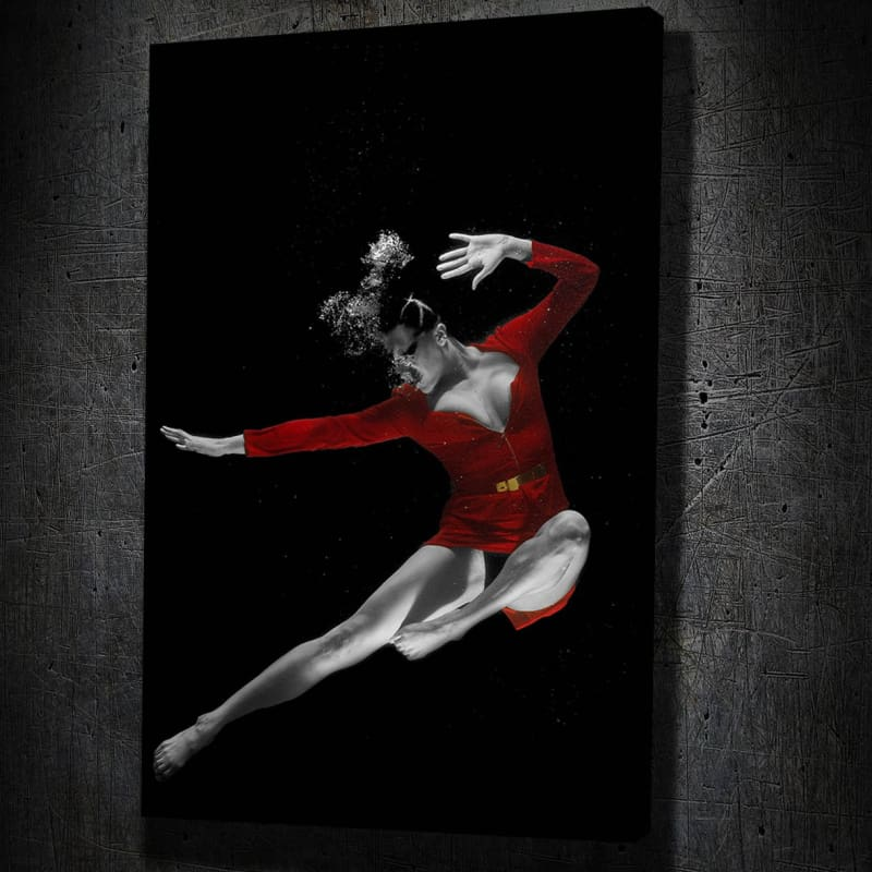 Red Dress Underwater Fine Art II - Framed Canvas Painting Wall Art Office Decor, large modern pop artwork for home or office, Entrepreneur Inspirational and motivational Quotes on Canvas great for man cave or home. Perfect for Artwork Addicts. Made in USA, FREE Shipping.