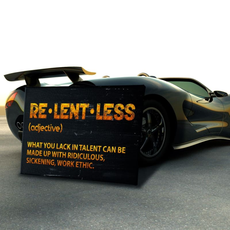 Relentless Wall Art - Framed Canvas Painting Wall Art Office Decor, large modern pop artwork for home or office, Entrepreneur Inspirational and motivational Quotes on Canvas great for man cave or home. Perfect for Artwork Addicts. Made in USA, FREE Shipping.